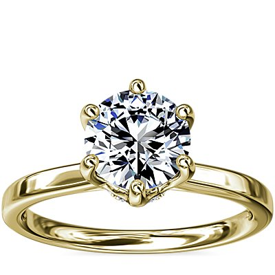 NEW Six-Claw Solitaire Plus Hidden Halo Diamond Engagement Ring in 14K Yellow Gold